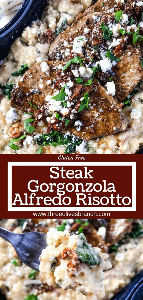 Steak Gorgonzola Alfredo Risotto - Three Olives Branch