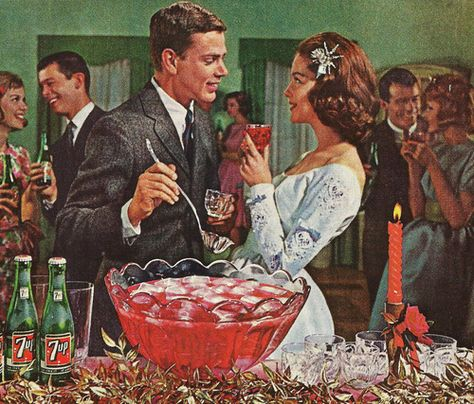 Stare at my chest one more time Mr and I'l punch you in the face. Literally. Christmas Party Punch Bowl, detail from 1962 7-Up ad.