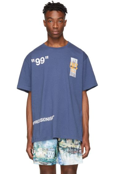 Off White Blue Summer T Shirt Off White Clothing Summer Tshirts Luxury Brands Fashion