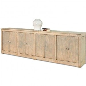 Pine Wood Extra Long Farmhouse Sideboard With A Light Blue Rubbed