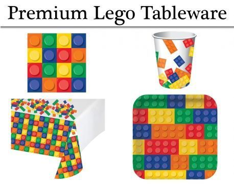 Vajilla Premium Lego Block Party Platos Servilletas Tazas Y