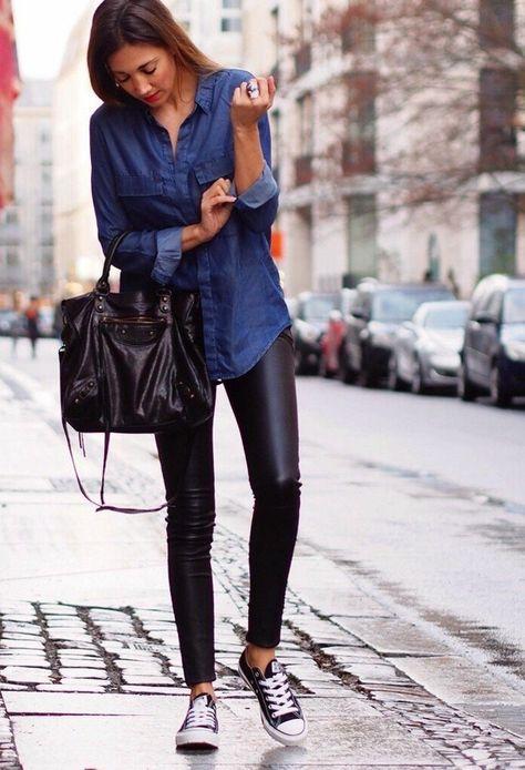 How to wear a denim shirt canvas shoe leather pants -