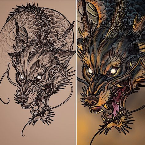 Tried Out Roughly Merging A Wolf And A Dragon Ladies And Gentlemen I Give You A Wogan Nicknamed Terry Te Blue Dragon Tattoo Wolf Tattoo Design Dragon Tattoo
