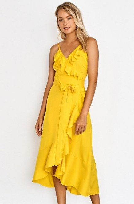 Bright Yellow Wrap Dress 27 Ideas In 2020 Little Black Dress Outfit Striped Maxi Dress Outfit Blue Mermaid Prom Dress
