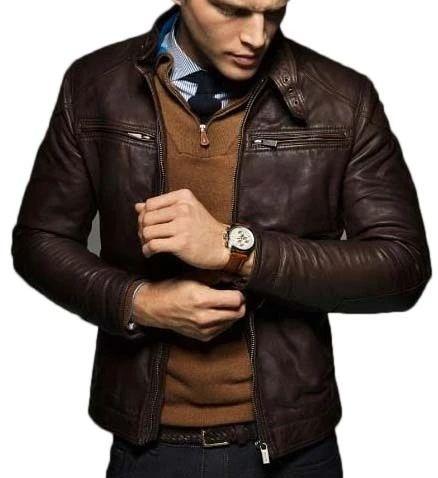 Men's Classy Trendy Brown Biker Leather Jacket | leatherhuts.com