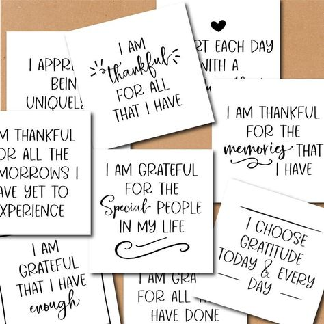 GRATITUDE AFFIRMATIONS 3x3 cards, thankfulness quotes, journaling cards, printable planner, inspirational cards, post it notes, avery 94104