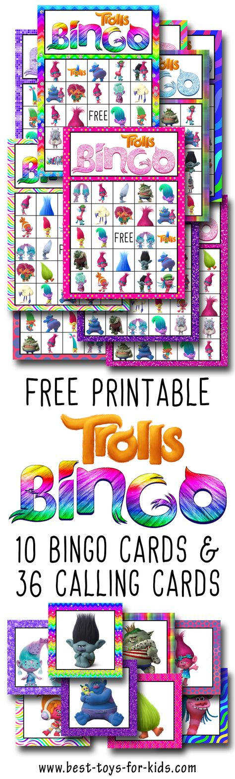 Trolls Free Printable Bingo Cards - Trolls Birthday Party Game ...