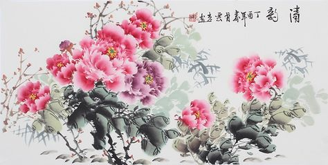 9bf184f4e Chinese painting Modern art famous artists Traditional flower Hand Peony  Painting - US $600.00