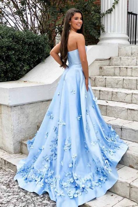 f9d7fc6700fb A-LINE SWEETHEART SKY BLUE 3D FLORAL APPLIQUE LONG PROM DRESSES WITH POCKET  PG988 #longpromdress #eveningdress #formaldress #satin #partydress # ...