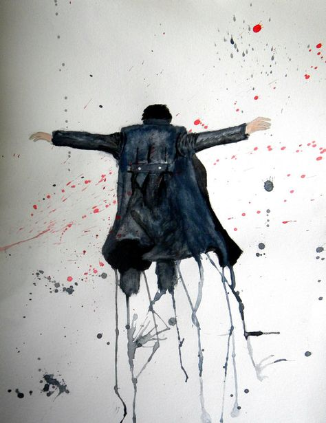Sherlock Reichenbach Fall painting by IntoTheOpenAir on Etsy, $15.00