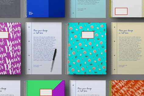 School Notebook & Lined Paper Sheet Mockup Set by Easybrandz2 on Envato Elements