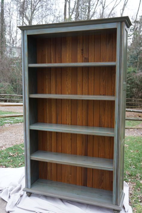 This 8 Tall Bookcase Was Custom Built In Our Shop It Features Stained Planks On The Back Adjustable Shelves W Bookshelves Diy Bookcase Diy Bookcase Makeover