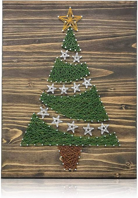String of the Art Christmas Tree String Art Kit String Art Templates, String Art Tutorials, String Art Patterns, String Wall Art, Nail String Art, Craft Kits, Diy Kits, Christmas Tree Decorations, Christmas Crafts