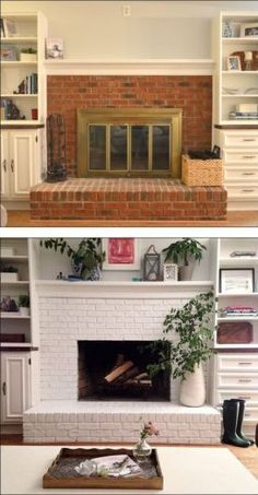 Best Photographs small Fireplace Remodel Style Great Photos small Fireplace Remodel Concepts Great Images wooden Fireplace Remodel Popular If a r Brick Fireplace Mantles, Brick Fireplace Remodel, Painted Brick Fireplaces, Paint Fireplace, Brick Fireplace Makeover, Small Fireplace, White Fireplace, Farmhouse Fireplace, Fireplace Design