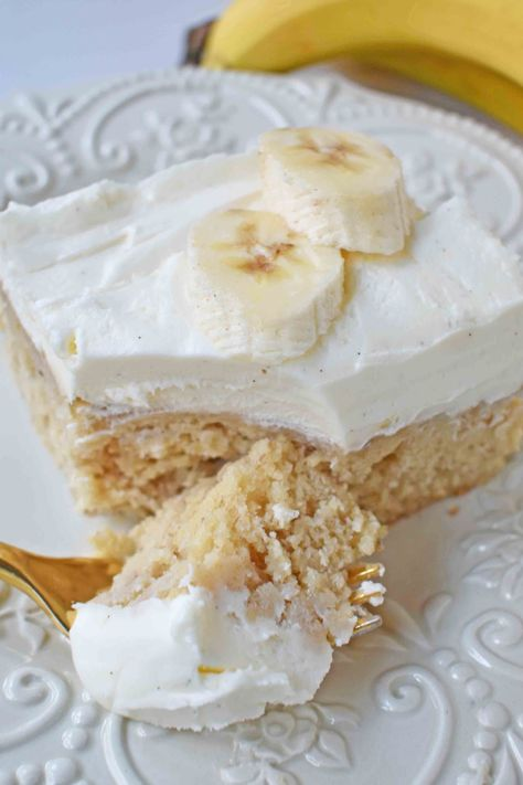 This is the recipe everyone wants! Soft, moist banana cake with sweet cream cheese frosting. The best banana cake recipe! You will love these frosted banana bars.