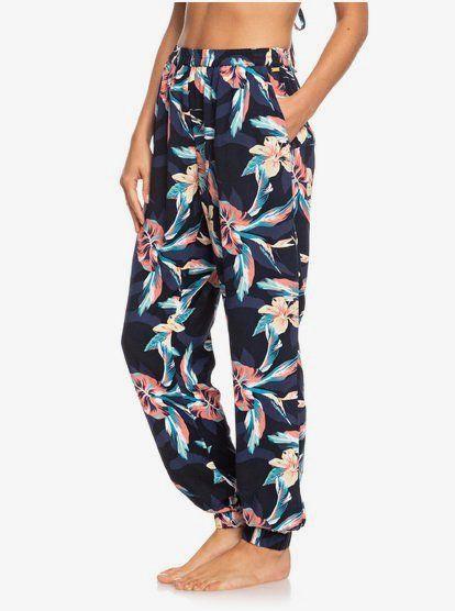 Roxy Easy Peasy Pantalon De Playa Elastico Para Mujer Anthracite Tropicoco S Kvj6 Pajama Pants Clothes Pants