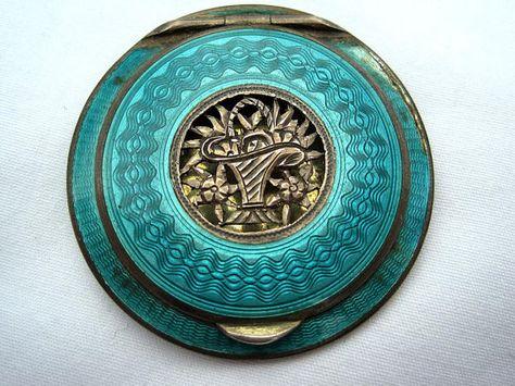 Vintage Enamel Compact  Sterling Silver