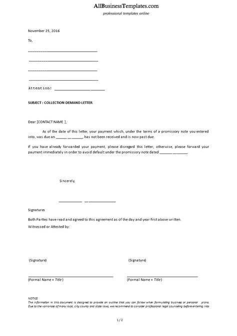 Collection Demand Letter - Download this Debt collection letter - collection letter