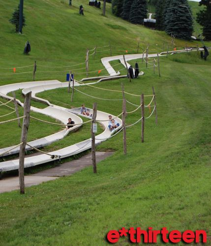 The Alpine Slide At Seven Springs Mountain Resort- This is the best slide I've ever gone on! You take a ski lift up to the top of the mountain, you get in a cart and control your speed, and then zoom down the mountain as fast as you want!!!!