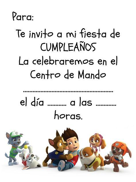 Invitación de cumpleaños descargable de La Patrulla Canina, solo tienes que imprimir, rellenar y entregar a los invitados.