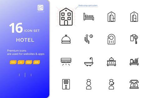 Icon set HOTEL outline style (127865)   Icons   Design Bundles