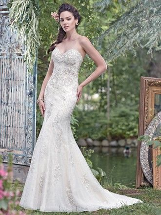 Maggie Sottero Ivory Over Light GoldPewter Accent Lace