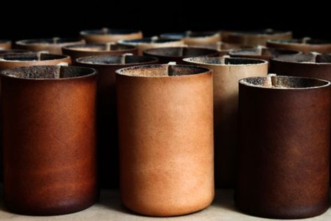 DIY Boiled leather decorative cups.