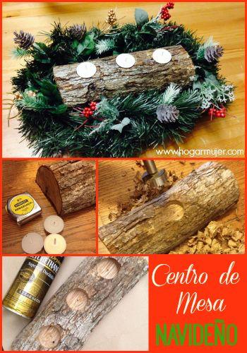 Centros de mesa navideños con troncos de madera Navidad