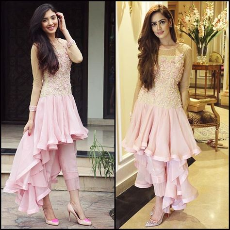 We can't decide who wore this blush pink #Rishmal dress better between these two gorgeous girls #AimenKhan @aimenkhann and #ShanzaySheikh @shanzaaysheikh What do you guys think? @rishmalofficial