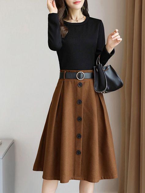 Shop Midi Dresses - Color-block Polyester Long Sleeve A-line Elegant Midi Dress online. Discover unique designers fashion at StyleWe.com.