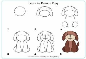 How To Draw A Cute Puppy Step By Step | Learn to draw a dog step by step instructions for kids by p… | Easy animal drawings, Draw animals for kids, Drawing