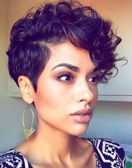 15 Short Faux Hawk Hairstyles For Women 46 Beautiful Ebony Short Hairstyles Concept In 2020 Short Hair Styles For Round Faces Curly Pixie Haircuts Hair Styles