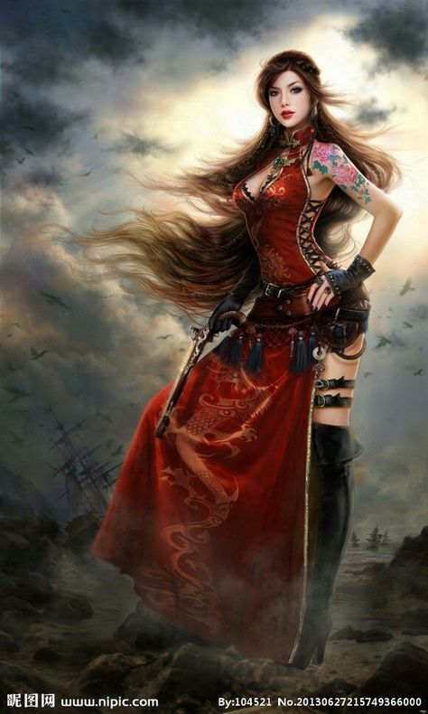 MARIBEL MESINO. female gunslinger in a red dress and windblown hair
