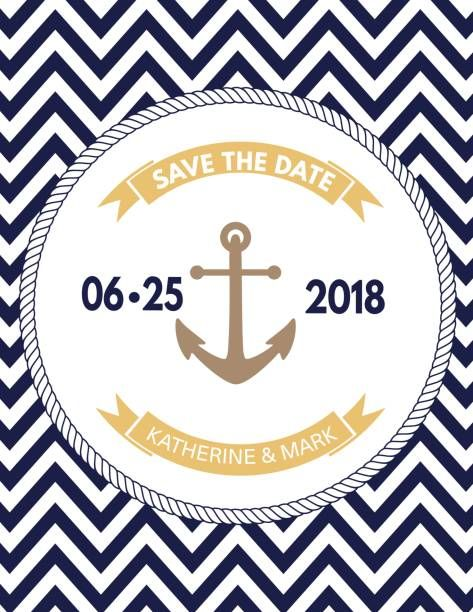 Nautical Theme Party Invitation Template Vector Art Illustration Save The Date Invitations Nautical Themed Party Party Invitation Template