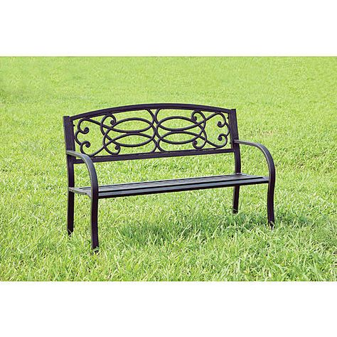 Furniture Of America Black Topia Metal Outdoor Bench Outdoor