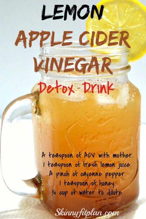 Apple Cider Vinegar Detox Drink Recipes for Weight Loss. Lemon apple cider Vinegar detox drink #weightlossnutrition #NaturalRemediesForAnxiety