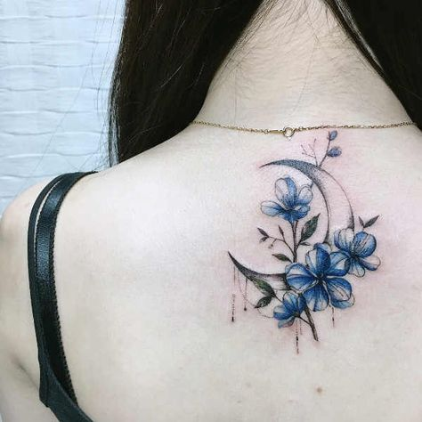 Extraordinary Moon And Sakura Tattoo On The Shoulder