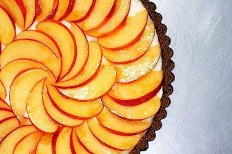 Nectarine, mascarpone and gingersnap tart