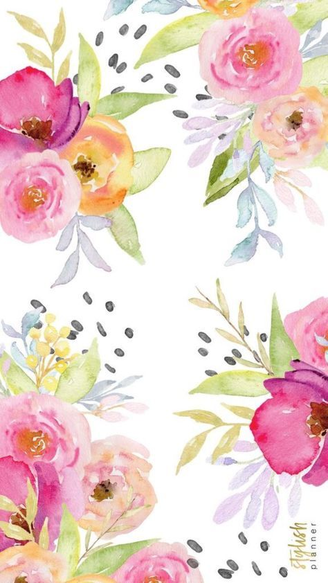 Wall Paper Iphone Cute Monogram 41 Super Ideas Floral Watercolor Watercolor Print Pattern Flower Wallpaper Cute wallpaper design for wall