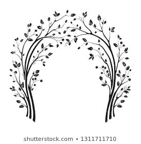Beautiful Wedding Arch With Tree Branches And Leaves Vector Holiday Illustration Floral Cute Silhouette Design Vector Images Vector Wedding Arch