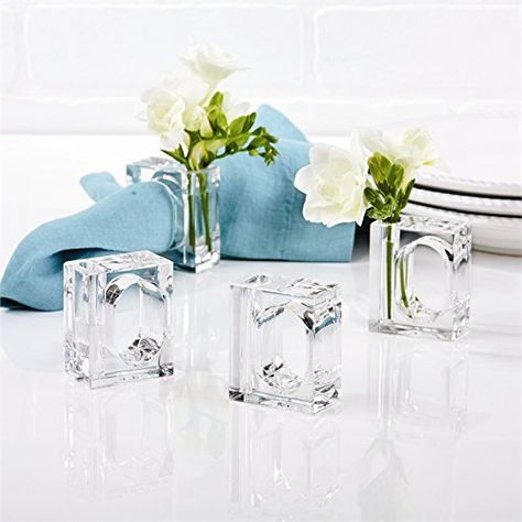 Acrylic Flower Box for 8 Bud Vase Napkin Rings Home Decor Set for Tabletop Accessory Party or Wedding Centerpiece By Deco-Mate Decorative Storage