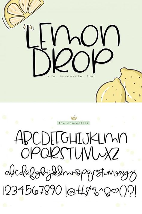 Lemon Drop is a cute handwritten font. This font is perfect for quotes, headings… Lemon Drop ist eine niedliche handgeschriebene. Lettering Brush, Hand Lettering Alphabet, Doodle Lettering, Creative Lettering, Lettering Styles, Handwriting Fonts Alphabet, Cute Fonts Alphabet, Doodle Fonts, Typography