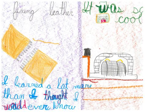 """Child's drawing of their trip to Slater Mill--""""I learned more than I thought I would ever know"""""""