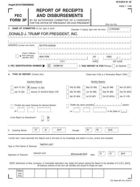 October 2015 Donald Trump Presidential Campaign FEC Finance Report - financial statement form