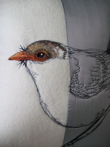 Freehand machine embroidery on Tasmanian Merino wool and silk, with  Pippijoe printed hemp fabric backing and Australian feather filling  and vintage buttons. By Tara Badcock