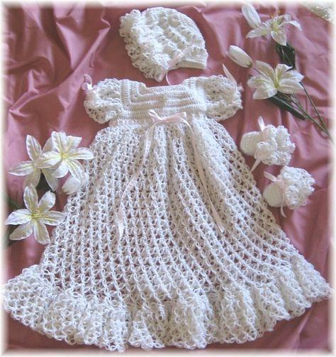 Crochet Pattern for Baby Christening Gown by littlebuddydolls, $6.99