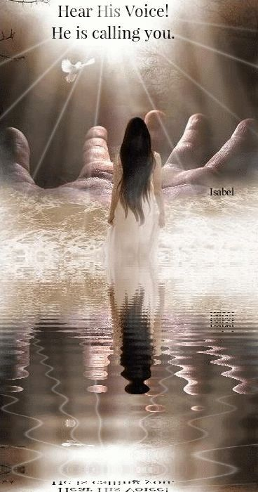 Woman at hands of God prophetic art. Hear His Voice. He is calling You. ~Isabel~