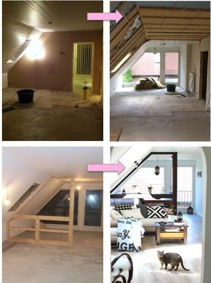 Wohnung renovieren vorher nachher Dachgeschosswohnung - dachgeschoss wohnungen einrichten ideen
