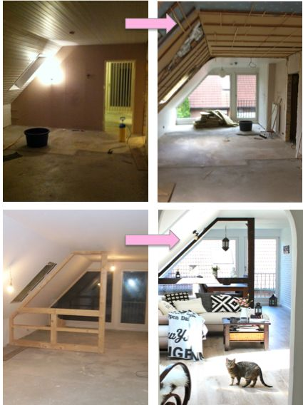 Wohnung renovieren vorher nachher Dachgeschosswohnung - wohnzimmer ideen dachgeschoss