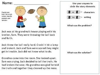 Identifying Story Elements Character Setting Problem And